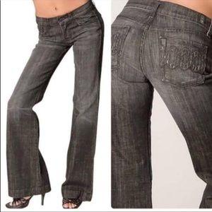 7FAM Dojo Jeans Black Oxford Crystal Chain Size 28